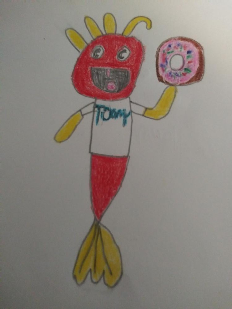 Bill and toony i watch your show every morning and this is toony holding a giant donut.