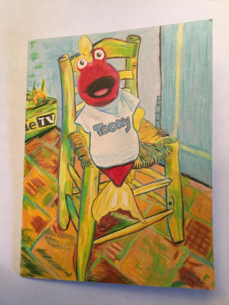 """I love it when you have themes like music or teeth or certain holidays.  Here I've sat Toony in Van Gogh's chair if you ever do """"art"""" or """"furniture"""" as a theme.  Y'all are really terrific!"""
